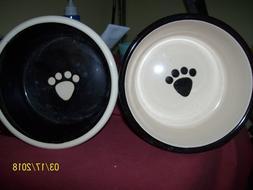 """2 Petrageous Designs Metro Deep Dog Pet Bowl 6 """" Across Tan"""