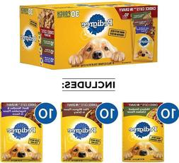 30 Cans Pedigree Wet Dog Food, Variety Packs Cuts in Gravy,
