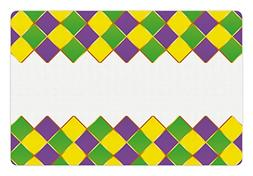 Ambesonne Mardi Gras Pet Mat for Food and Water, Carnival Co