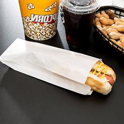 """Carnival King White Paper Hot Dog Bags 3 1/2"""" x 1 1/2"""" x 9"""""""