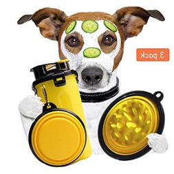 Dog Cat Water Bottle With 2 Pcs Collapsible Bowls - Pet Trav