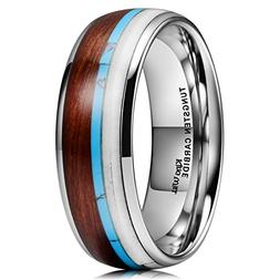 King Will NATURE Wood Calaite Inlay Dome Tungsten Carbide We