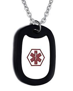Medical Alert ID Dog Tag Necklace Black Silicone Silencer wi