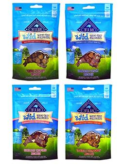 Blue Pack of 4 Buffalo Treats Bits Dog Treats Pouches, 4 Fla