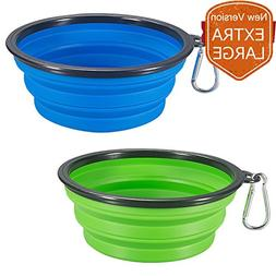 COMSUN 2-pack Extra Large Size Collapsible Dog Bowl, Food Gr