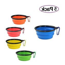 Collapsible Dog Bowls 5-Pack for Pet Dog/Cat Food Grade Sili