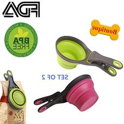 Collapsible pet scoop for dog cat food water, silicon measur