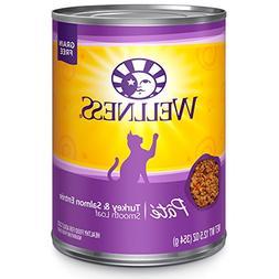 Wellness Natural Grain Free Wet Canned Cat Food, Turkey & Sa