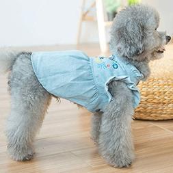 CHONGWFS Cute Denim Skirt Pet Clothes Teddy Princess Dress B