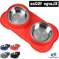 Large Dog Bowl - 2 Large Capacity 51oz  Removable Stainless
