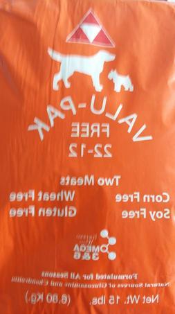 Valu Pak dog food. 15 lb. Bag 22/12