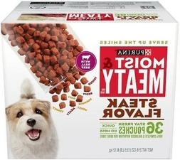 Purina Moist & Meaty Steak Flavor Adult Wet Dog Food - 36 Ct