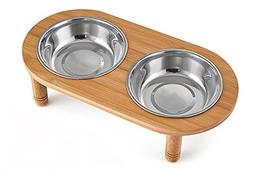 Lepet Elevated Dog Cat Bowls Stand with 2 Stainless Steel Bo