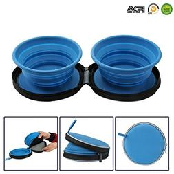 Mogoko Food-Grade Silicone Collapsible Dog Bowl Set,BPA Fr