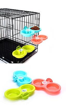 Pet Food Water Bowl Hanging in Cage Double Feeding Station,