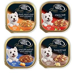 Cesar Home Delights Dog Food 4 Flavor 8 Can Bundle:  Meat La