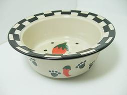 "Jalapeno Dog Bowl Ceramic Black Red White Food Water 5.75"" P"