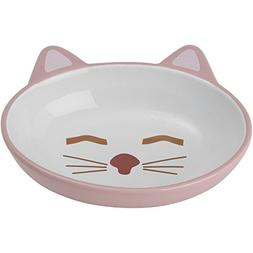 "Petrageous Designs Here Kitty 5.50"" Oval Pet Bowl, Pink & Bl"
