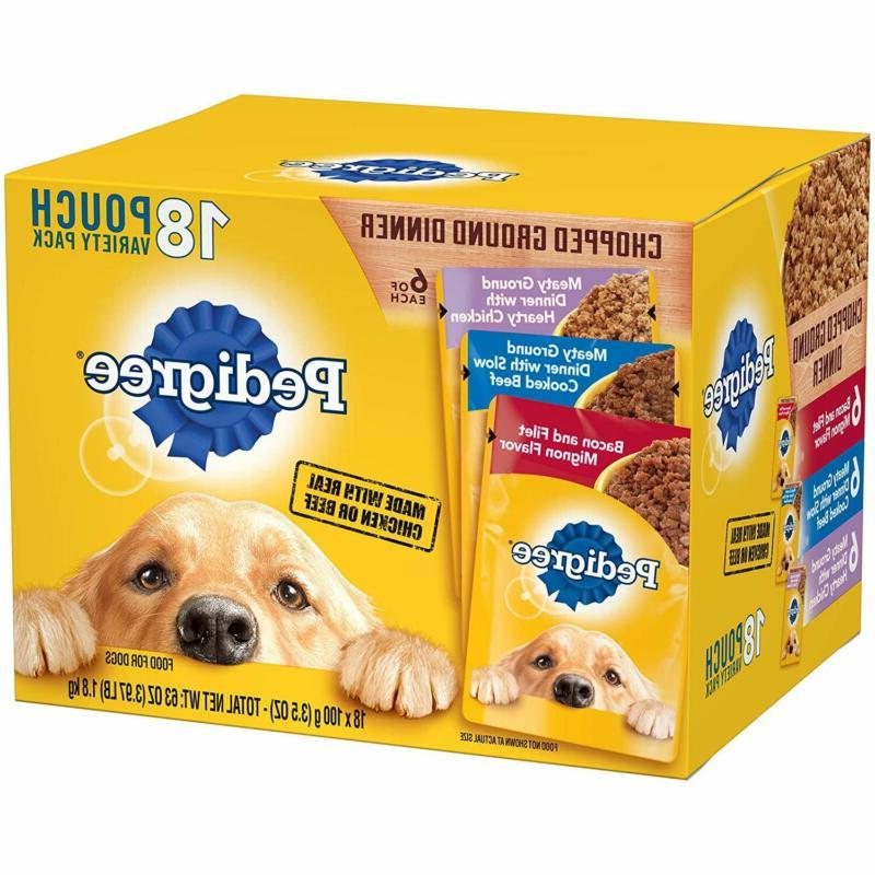 18 pouches chopped ground dinner wet dog