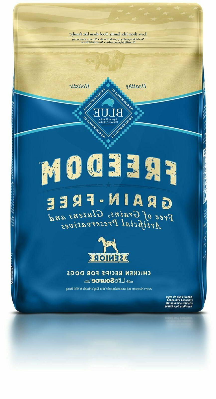 blue freedom senior grain free chicken dry