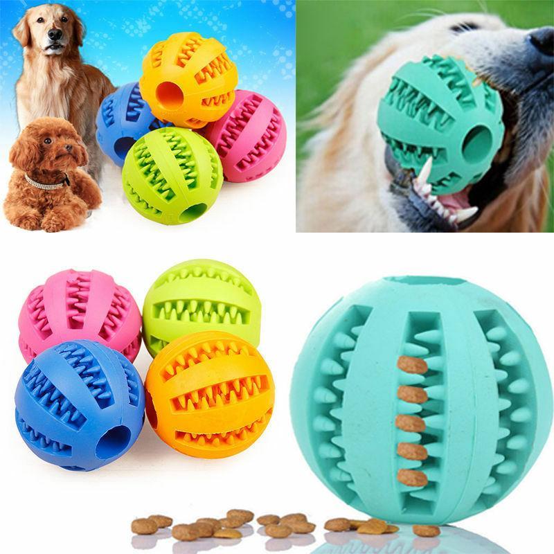 pet dog rubber food dispenser ball chew