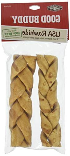 """Castor & Pollux 7"""" Usa Rawhide Braided, 2 Count,"""