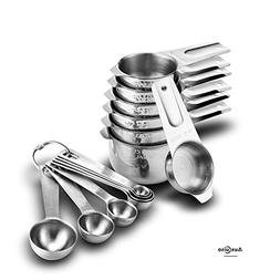 Auxcuiso Measuring Cups and Spoons Set 14 Pieces Durable Sta