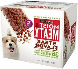 Purina Moist & Meaty Steak Flavor Dog Food, 36 count NEW