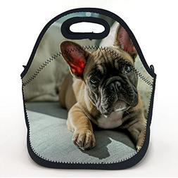 "Neoprene Lunch Tote Bag Bulldog Dog Muzzle Eyes 11.5"" H X 11"