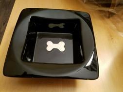 NEW! Petrageous Designs Black Stoneware Square Dog Dish Bowl