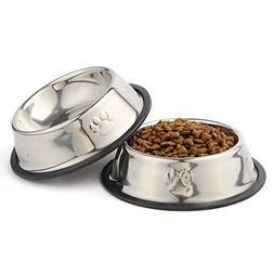 QPEY Pet Food Bowl Stainless Steel Non Skid Pet Paws Doodler