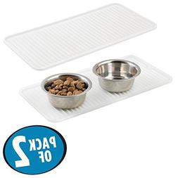 mDesign Premium Quality Pet Food and Water Bowl Feeding Mat