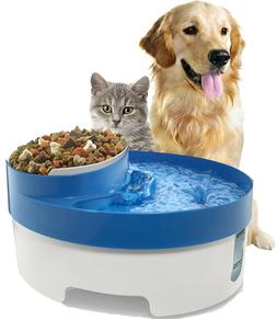 OxGord Pet Fountain Water & Food Bowl Feeder for Dog Cats wi