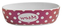 """Pet Rageous 2 Cups Bedazzled Meow Shimmer, 6.75"""", Berry"""