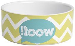 "Pet Rageous 3.5 Cup Zigazaga Woof! Bowl, 6"", Lime Green"