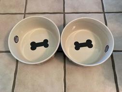 Set Of 2 PetRageous Design Bones Dog 4 Cups Bowl Handcrafted