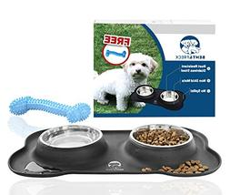 No Spill Dog Bowls by Bent&Freck - Non Skid Mat with Stainle
