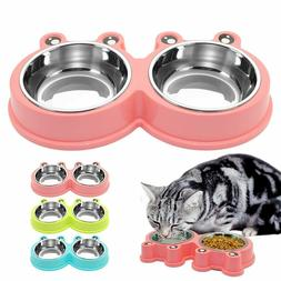 Stainless Steel Pet Dog Foods Water Dish Bowls Frog Eyes Des