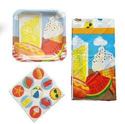 Summertime Paper Plates and Napkins Pool Party Themed 3 pc B