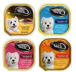 Cesar Sunrise Dog Food 4 Flavor 8 Can Bundle: 2 Scrambled Eg