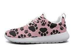 ipdterty Wear-Resistant Training Sneaker Black Dog Paw Print